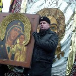 Православный хоругвеносец с иконой Богоматери